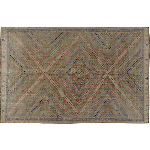Turkish Jajim Flat Weave Rug 6'10 x 10'2