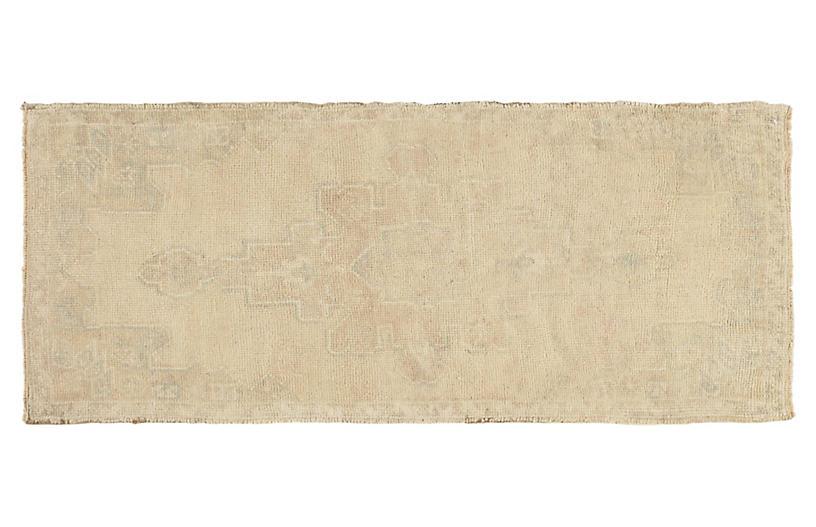 Turkish Oatmeal Yastik Rug, 1'6 x 3'8