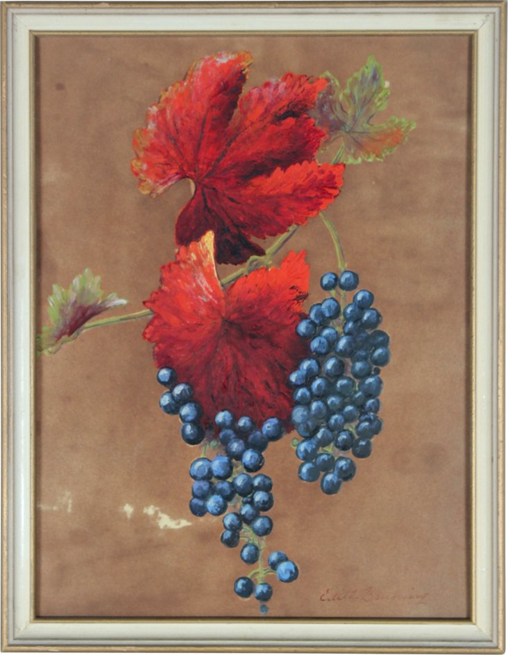 Autumn Leaves & Grapes Still Life
