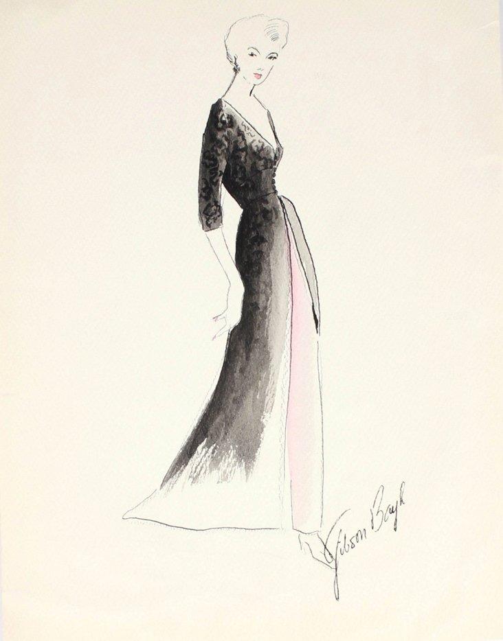 1950s Fashion Illustration by  G. Bayh