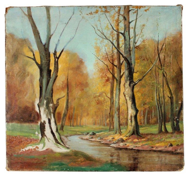 Midcentury Autumn River Scene
