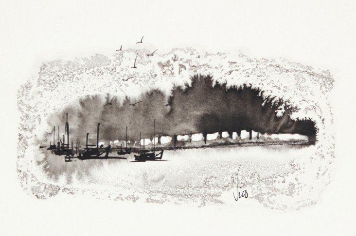 1960s Wiveca Rubinow Ink Seascape