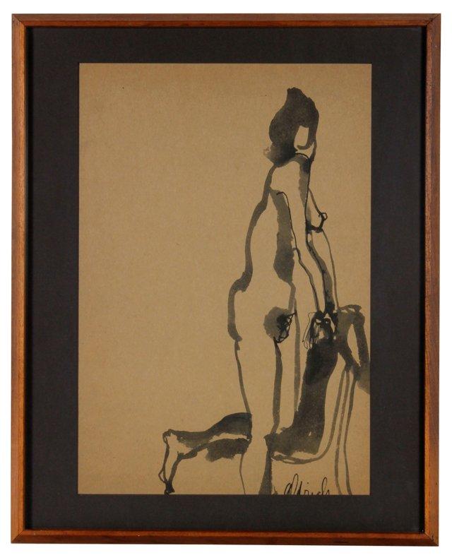 Posing Nude Figure, C. 1960