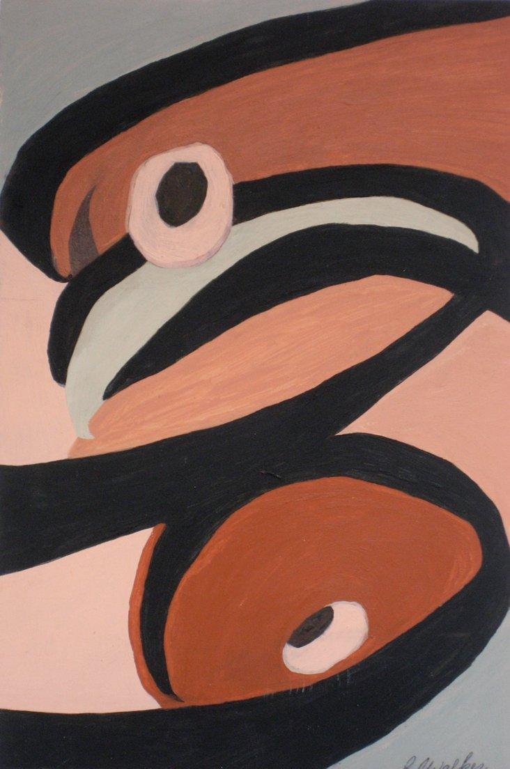 Midcentury Geometric Salmon Abstract