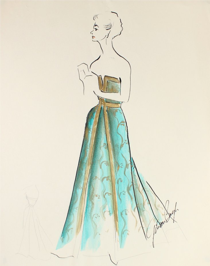 Romantic Teal Gown by Gibson Bayh, 1950s