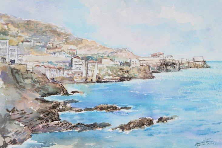 Summer Cliffside Seascape Watercolor