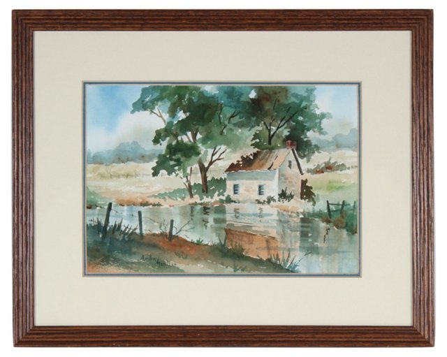 Cottage by the River Watercolor