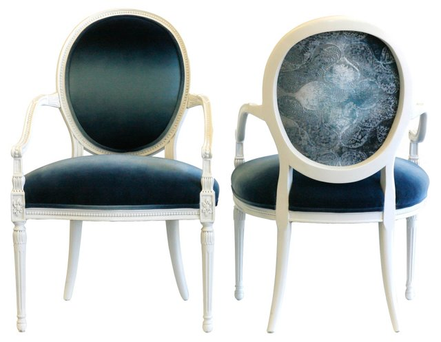Ombré Velvet Occasional Chairs, Pair