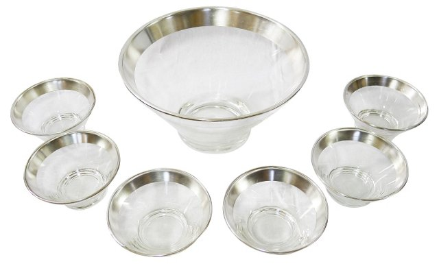 Midcentury Silver-Rim Bowls, S/7