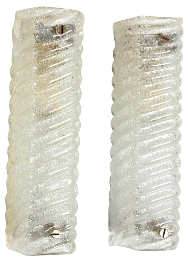 Austrian Glass Sconces, Pair
