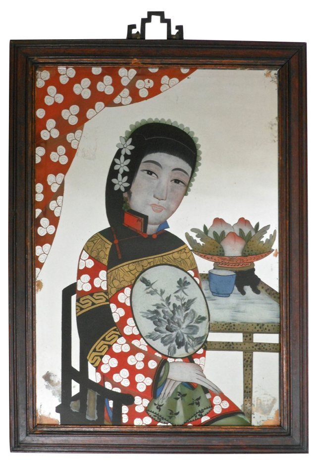 Chinese Reverse Painting on Mirror