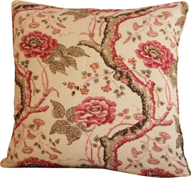 Custom Quadrille Tree Peony Pillow