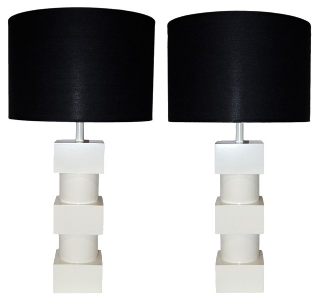 White Lacquered Geometric Lamps, Pair