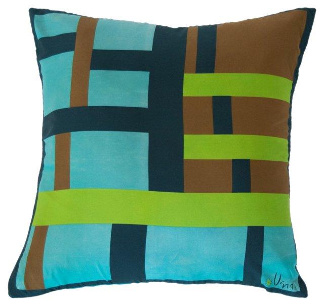 Vera Neumann Blue, Green & Brown Pillow