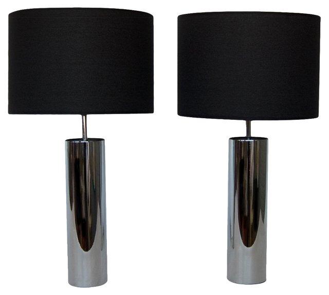 George Kovacs Chrome Lamps, Pair