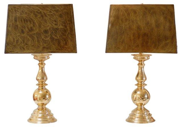 Brass Lamps, Pair