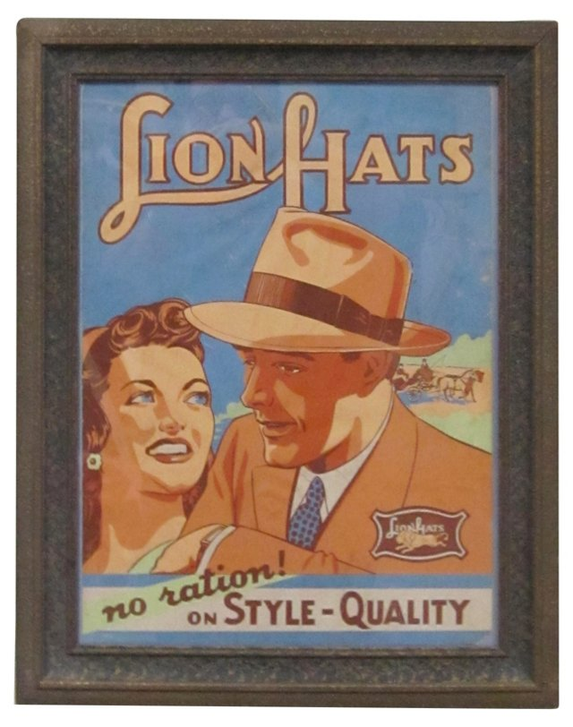 1930s Advertising Poster for Lion Hats