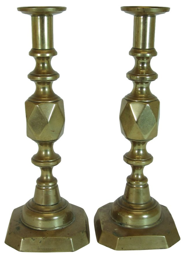 King of Diamonds Candlesticks, Pair