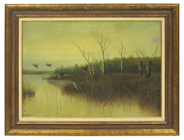 Mallards in Flight Over Lake, 1914