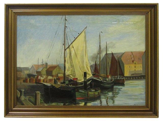 Ships Docked in a Danish Harbor