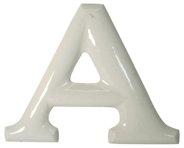 White Enamel Letter A