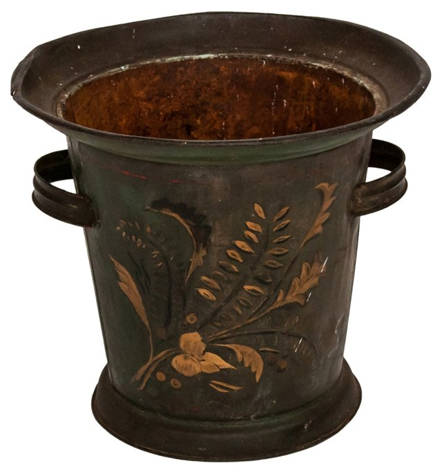 19th-C. French Painted Bucket