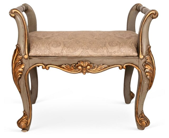 French-Style   Painted Bench