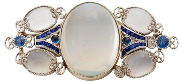 Art Nouveau Moonstone & Sapphire Brooch