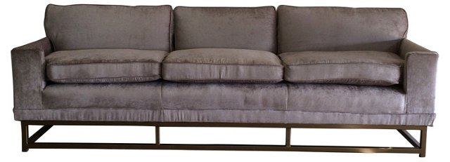 Silver Velvet Sofa w/ Gold-Tone Base