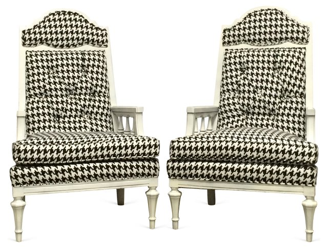 Houndstooth  Chairs, Pair
