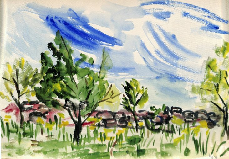 Windy Weather, Watercolor, 1960