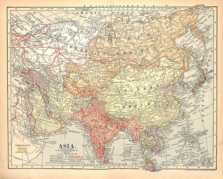 Map of Asia, 1902