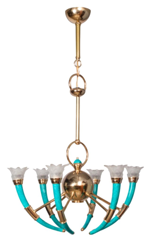 1960s French Tulip Glass Chandelier