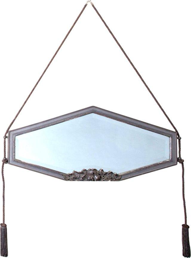 French Art Deco Hexagonal Silver Mirror
