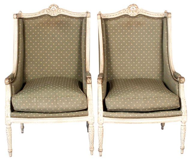 French Louis XVI-Style Bergères, Pair