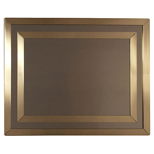 1970s French Brass Mirror