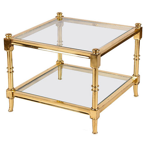 Maison Jansen-Style Brass Side Table