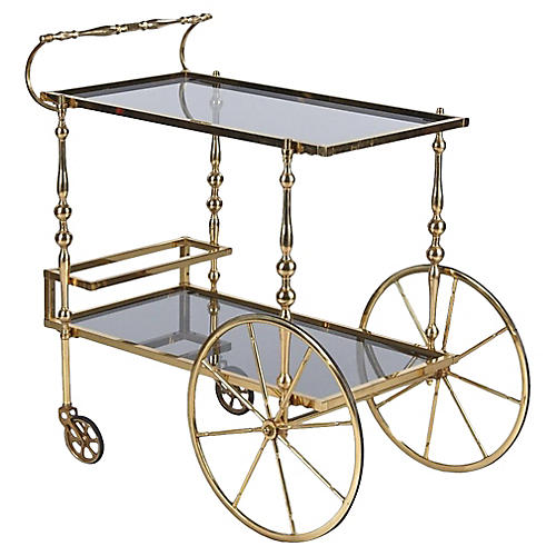 Midcentury Spanish Brass Bar Cart