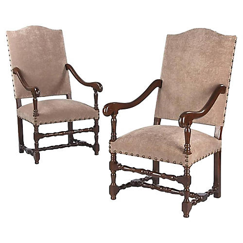 1920s Louis XIII-Style Armchairs, Pair