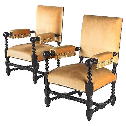 1870s Louis XIII-Style Armchairs, Pair