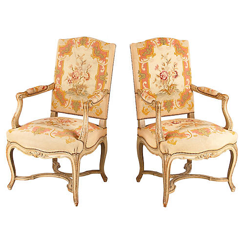 Pair of Louis XV Painted Armchairs 1920s