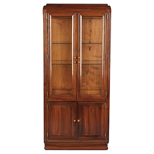 French Art Deco Walnut Vitrine