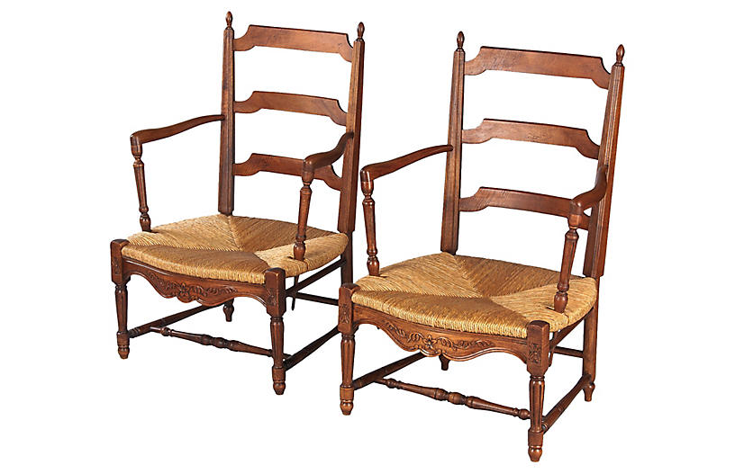Pair of Provencal Rush Seat Armchairs