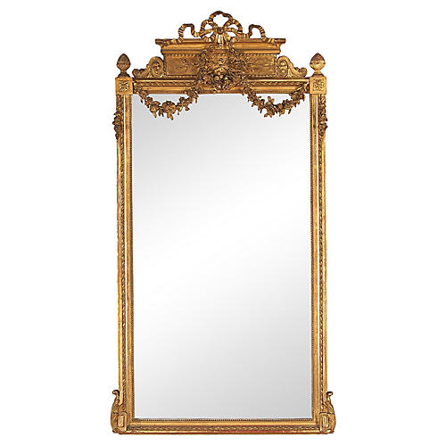 Louis XVI Style Gold Leaf Beveled Mirror