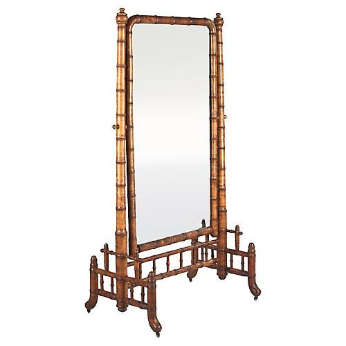 Napoleon III Style Faux-Bamboo Mirror