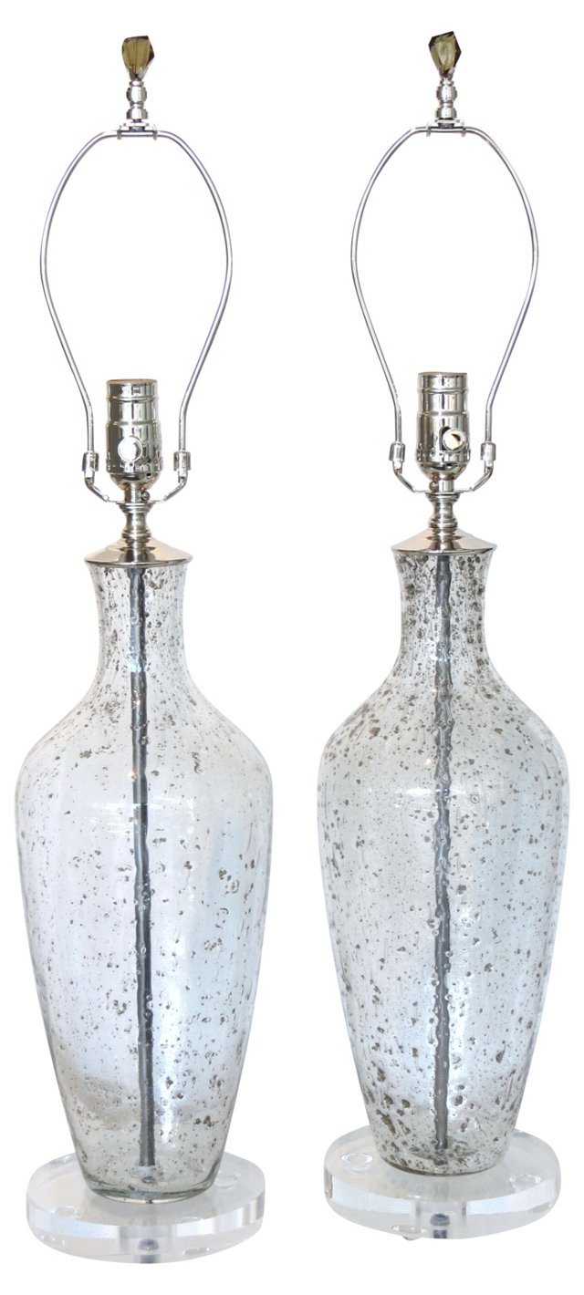 Clear & Silver Fleck Lamps, Pair