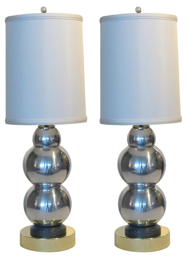 Chrome & Brass Lamps, Pair