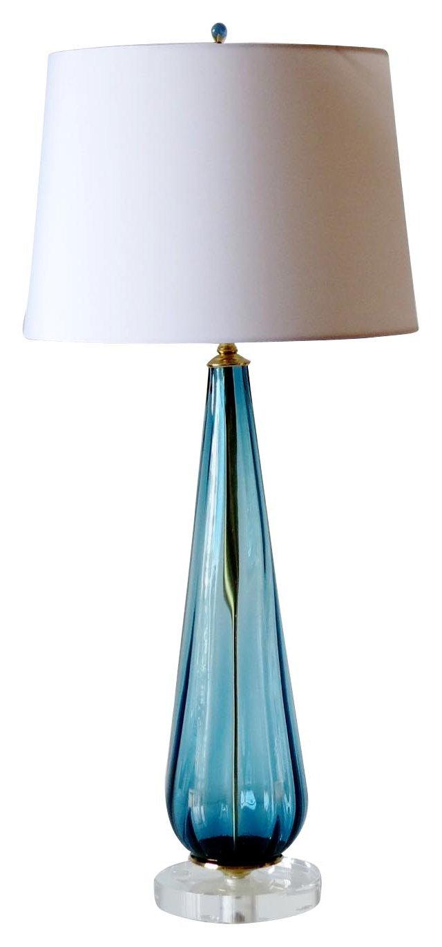 Blue Italian Glass Lamp