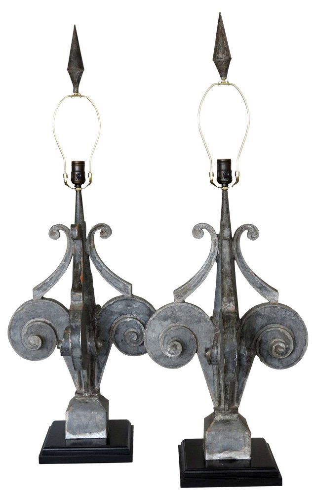 Zinc Cupola   Lamps, Pair