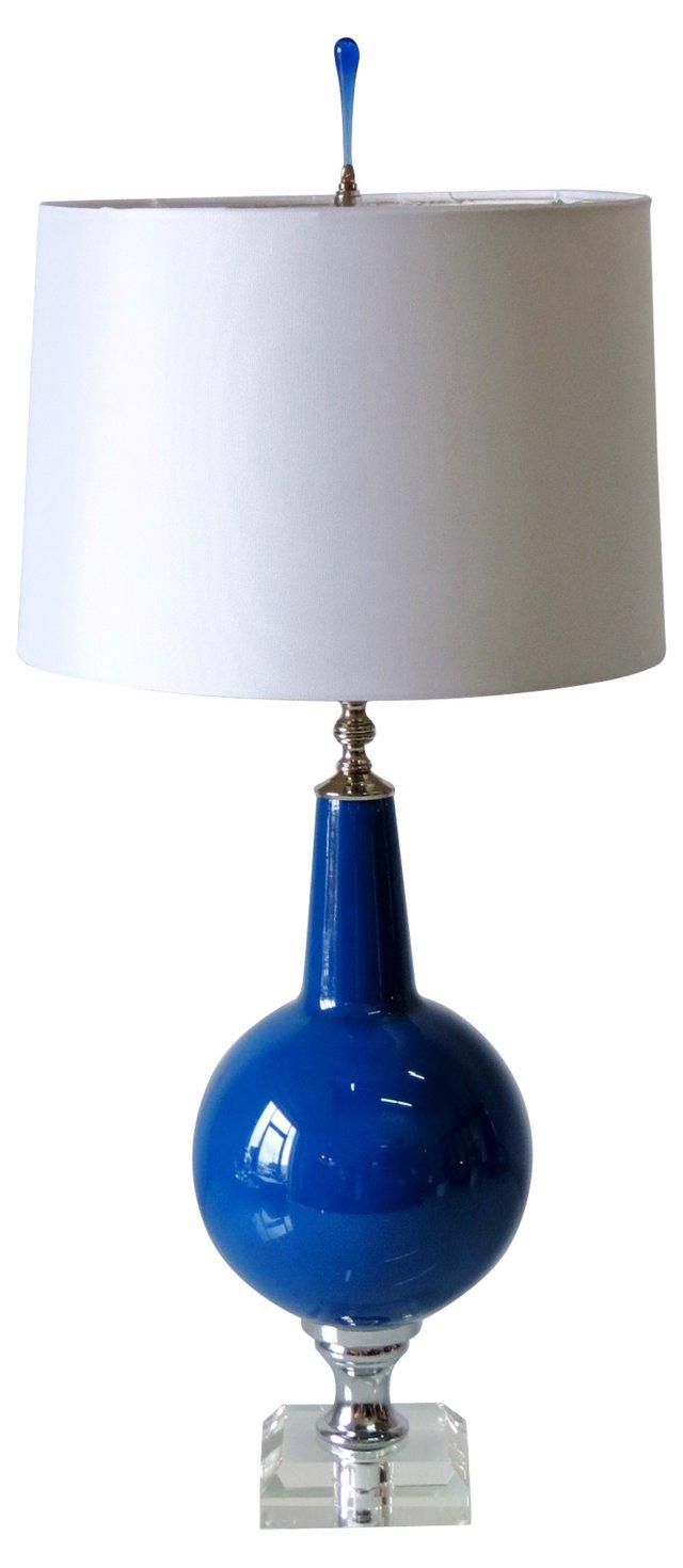 Lapis Lazuli Glass Lamp